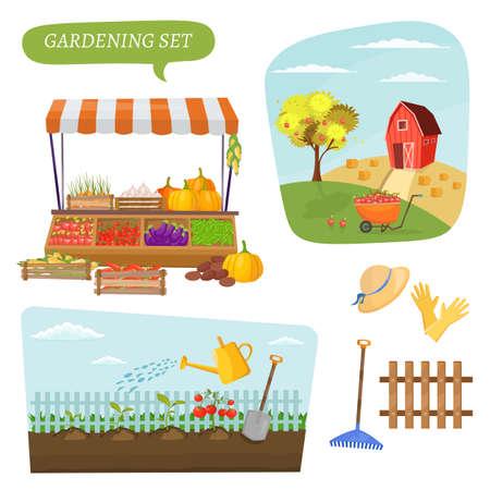 農場の美しい風景のフィールドと庭漫画農業設定要素村バナー ベクトル図のインフォ グラフィック