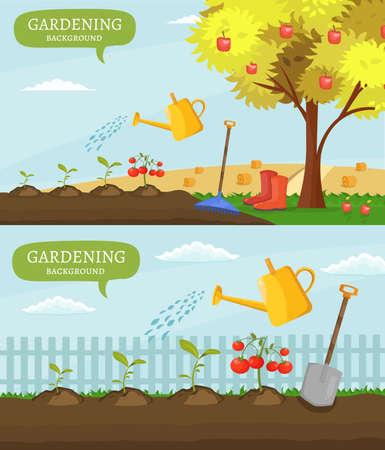 gardening  equipment: Garden colorful designs elements vector farm illustration icon set of different gardening equipment, tools, vegetables and plants.