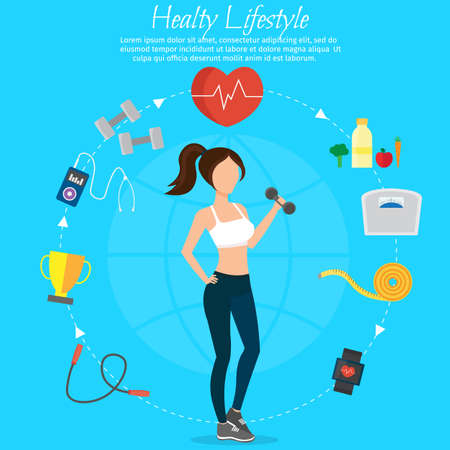 Healthy lifestyle girl vector set and fitness different sports food