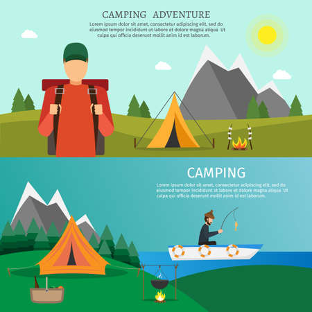 Hiking and outdoor set fishing flat nature camping travel vector illustration
