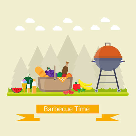 Fruit with wine, barbecue grill, watermelon on the grass, bbq. Summer picnic on meadow under sky.