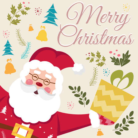 dcor: Happy New Year and Merry Christmas vector card with funny Santa Claus.