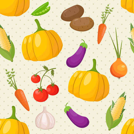 shop keeper: Vegetables seamless pattern with pumpkin, carrot, tomatos, onion and potato. Vector Template illustration background card. Illustration