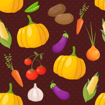Vegetables seamless pattern with pumpkin, carrot, tomatos, onion and potato. Vector Template illustration background card. Illustration
