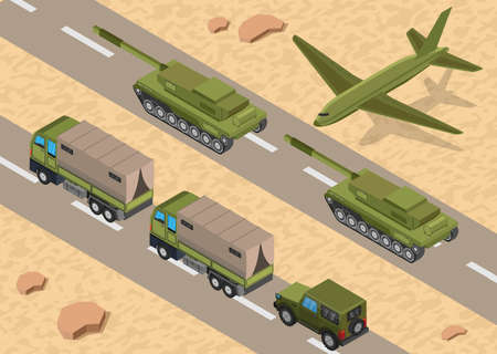 Military army low poly of road base background Illustration