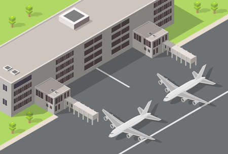 Isometric low poly airport terminal building background. International arrival departures vector illustration