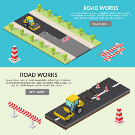 Isometric low poly Asphalt compactor road under construction repair road infographic. Иллюстрация