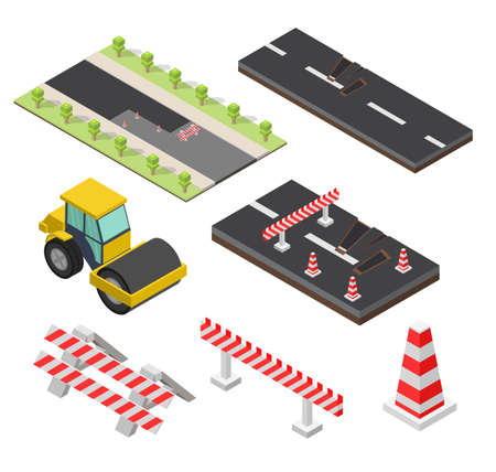 Isometric low poly Asphalt compactor road under construction repair road elements set. Иллюстрация