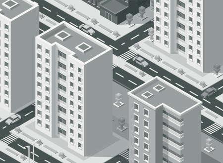 Isometric city street with buildings apartments illustration background. Ilustração