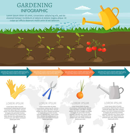 Gardening background with agricultural products and tools