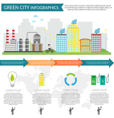 Eco city infographic set with protected pollution info. Illustration