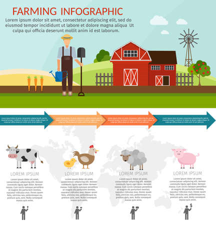 Big set infographics vector farm elements and ecology cartoon gardening background Illustration