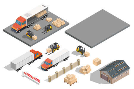 Isometric warehouse exterior of storage vector set with shipping delivery flat illustration Logistic concept export truck infographics