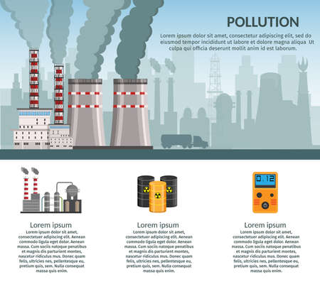 Nuclear power plant vector illustration for background infographics of atomic energy. Illustration