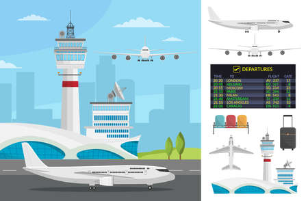 Airport and transportation airplane infographics objects