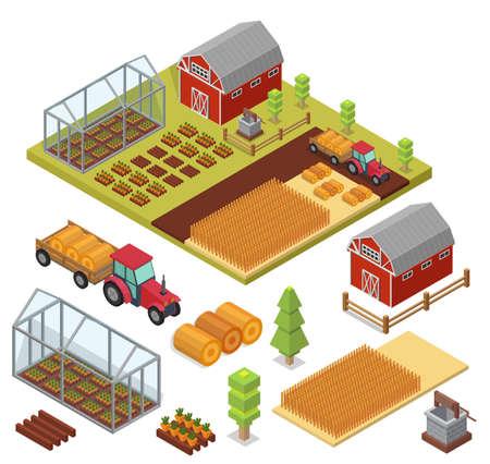 Isometric Big set infographics vector farm elements and ecology cartoon gardening background Illustration