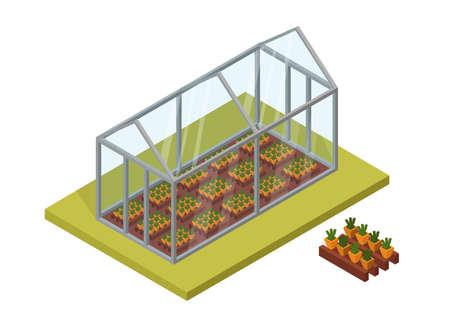 Isometric Big set vector greenhouse elements and ecology cartoon gardening background