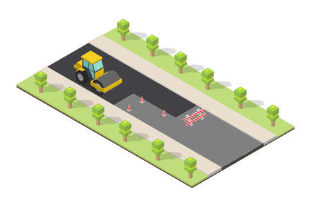 Isometric Asphalt compactor road under construction repair road signs. Иллюстрация
