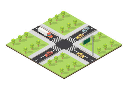 Isomertic city intersection and road markings vector illustration.