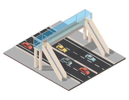 Isometric highway traffic vector illustration