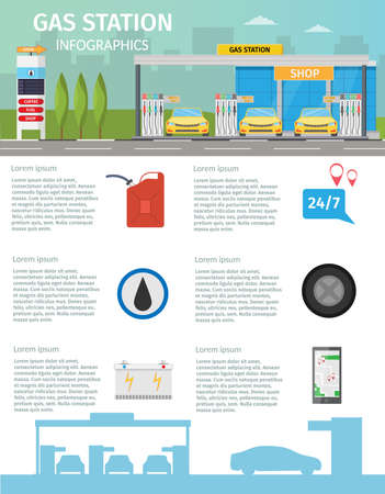 Gas filling station Vector flat illustration of oil service for with shop infographics elements and background Illustration
