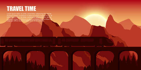 Travel train outdoor with mountains bridge colorful vector flat banners tourism banner set.