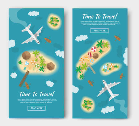 Summer vacation atoll tropical islands travel tourism vector of illustration