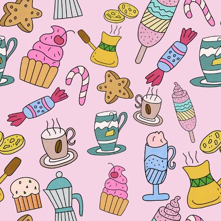Seamles pattern on a pink background with the image of cups of tea and coffee, cake, ice cream and sweets. For decorating wallpapers, textiles, packaging and kitchrn towels