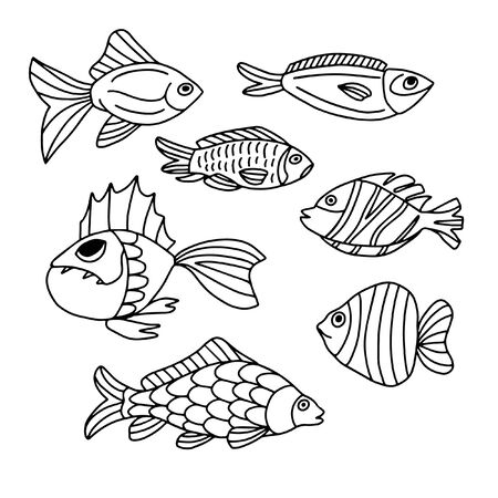Set of fish on a white background in doodle style. For decorating dishes, covers, blac and white illustrations