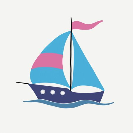 Vector image of a bright sailling ship on a white background. For the design of postcards with sea views, prints on covers and t-shirts, stikers on mugs, packages, watches Vettoriali