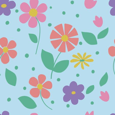 Seamles pattern - bright flowers on a gently green background in vector graphics, for decorating wallpapers, textiles, wrapping paper, prints on baby clothes