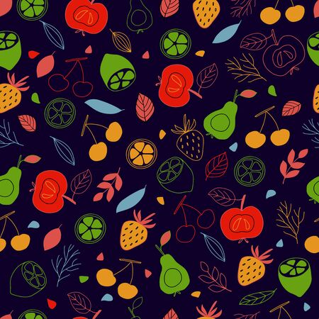Seamless pattern of colorful fruits on a background in vector graphics. For decorating wallpaper, textile, wrapping paper, pillows, tablecloths 向量圖像