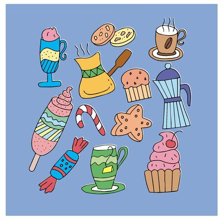Set on a blue background from several objects - cups with tea and coffee, cake, ice cream, candy. For the design of holiday cards, signs and menus for cafes