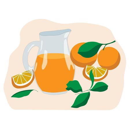 Set of oranges, halves and jug with orange juice on a pink background. For the design of postcards, signboards, prints on notebooks, bags, packaging, mugs, dishes