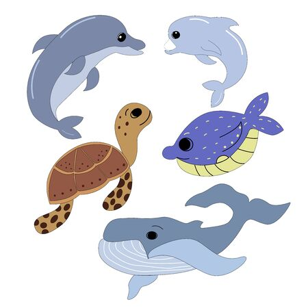 Set of sea animals in vector graphics on a white background, blue whale, dolphins, turtle. For the design of childrens, cartoon illustrations, postcards, prints, stikers, covers for notebooks
