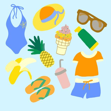 Set of beach things and fruits in vector graphics on a blue background. For the design of postcards, posters, summer illustrations, covers, wrapping pape