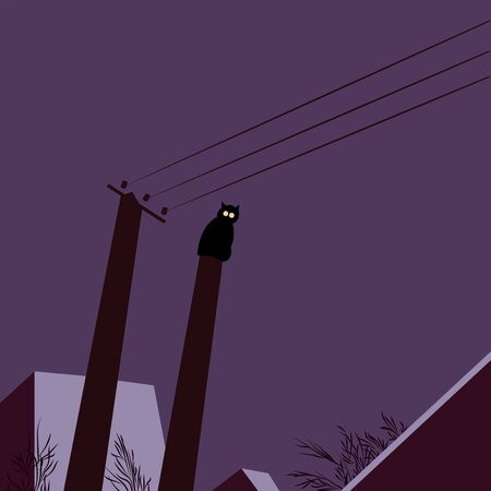 Postcard with a cat on the background of the night sky and roofs of houses. Winter landscape. Happy Halloween. Good night. Dark background. Flat vector illustration. Ilustração