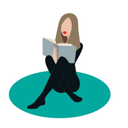 Vector image of a girl with a book in a flat style. To create stylish illustrations, postcards, posters, phone cases, notebooks, and clothing prints