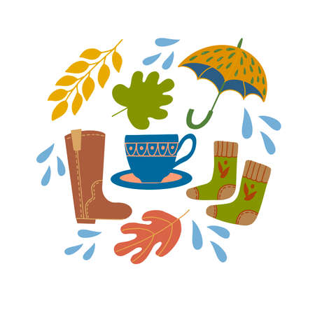 Set of autumn leaves, blue cup, umbrella, socks and boots. Vector graphics on a white background for the design of cards, prints on pillows, packages, covers, wrapping paper