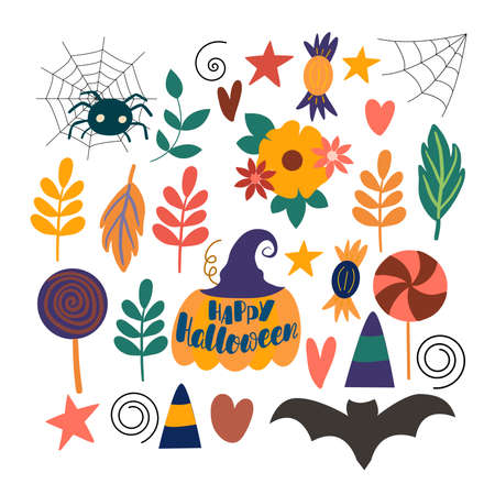 Set of vector elements for the decoration of the autumn holiday Halloween, on a white background Illusztráció