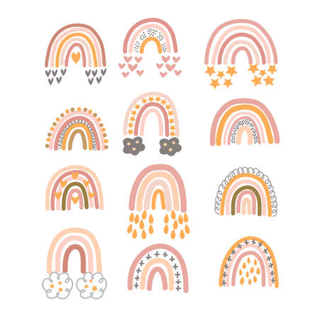 Set of pastel brown rainbows with ornament in vector graphics on a white background. For the design of postcards, posters, prints for children clothing, wrapping paper, notebook covers Vektorové ilustrace