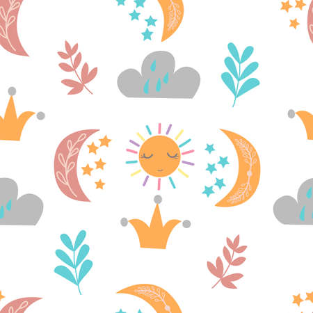 Seamless pattern with cute moon, clouds, sun, leaves and stars on a white background, in vector graphics. For decorating wrapping paper, prints for childrens pajamas, textiles, covers