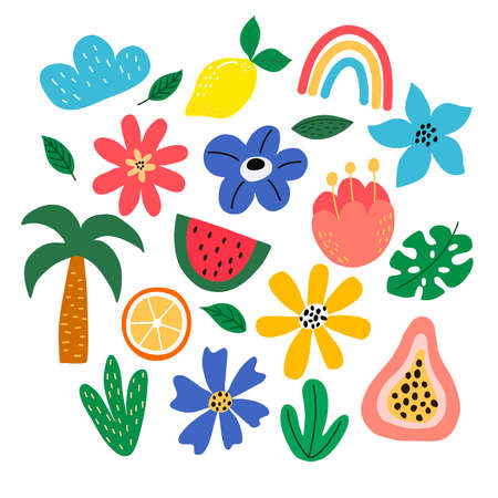 Set of bright beautiful tropical elements on a white background, in vector grphics. For the design of postcards, posters, notebook covers, packaging, prints on pillows, mugs Vetores