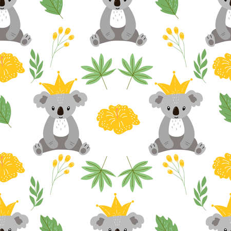 Seamless pattern on a white background, in vector graphics - cute koala, leaves and yellow flower. For decorating textiles, covers, prints for wrapping paper, clothing, bags, packaging