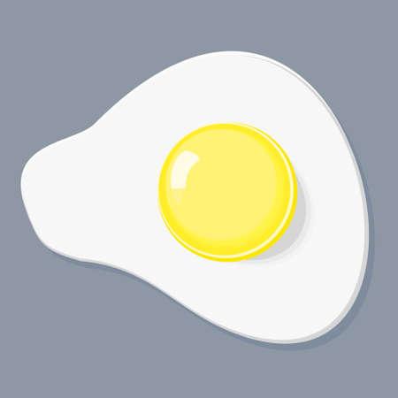 Fried egg flat icon. Fried egg isolated on gray background