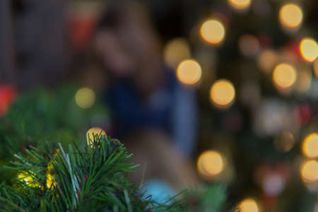 Bokeh, background, gold, green, red, Christmas tree Stock fotó - 113700866