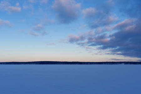 the expanse of the Gulf of Finland in winter from Russia VYBORG, RUSSIA 05.01.2019 Park-like estate Monrepos, Vyborg. Stock fotó