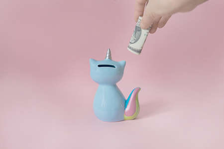 hand puts a dollar in the moneybox kitten corn blue with a colorful rainbow tail with closed eyes and a unicorn horn on a pink background in natural light