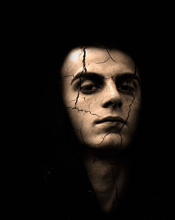 Portrait of spooky looking man with cracked skin in sepia color Stock Photo - 8705095