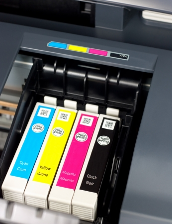 ink jet: Closeup  of  printer ink cartridges for a color printer Stock Photo
